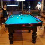 Ninas Kitchen playing pool